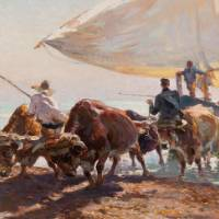 Oil on canvas painting of oxen assisting fisherman by pulling a boat with a large white sail. Multiple fisherman are also wokring near or on the boat, one man stands near the front two oxen.